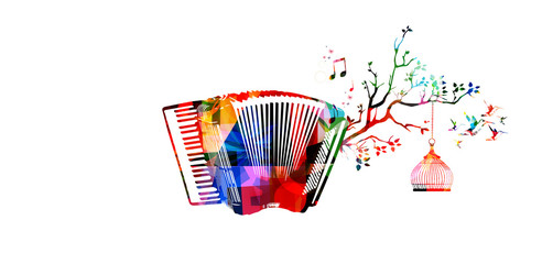 Creative music style template vector illustration, colorful accordion, nature inspired instrument background with birds. Design for poster, flyer, brochure, banner, concert, music festival, music shop
