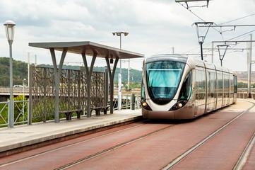 Modern looking tram in Rabat, Morocco