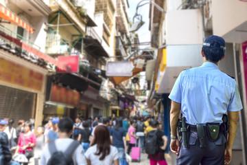 Security guard in outdoor market