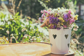 Summer beautiful garden with colorful bouquet of flowers