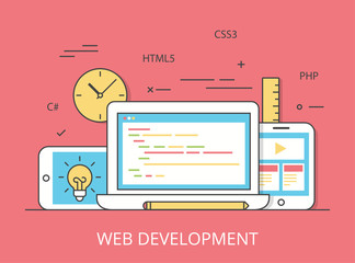 Linear Flat web site development programming vector illustration