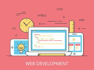 Linear Flat web site development programming vector illustration
