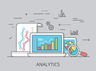 Linear Flat marketing analytics website vector illustration .