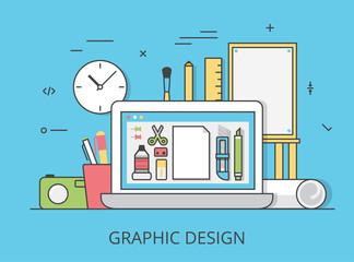 Linear Flat graphic design website art tools vector illustration