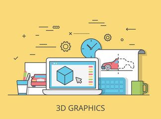 Linear Flat 3D graphics service website vector illustration