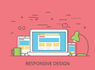 Linear Flat software responsive web design vector illustration