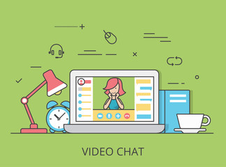 Linear Flat video chat conference vector software illustration