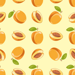 Vector peach seamless pattern yellow background