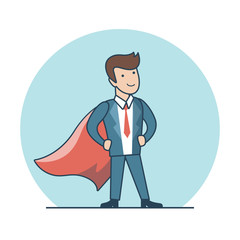 Linear Flat Superhero posing suit red cape vector illustration.