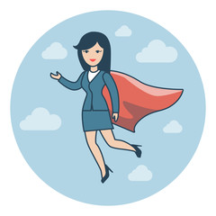 Linear Flat Superhero flying suit red cape vector illustration.