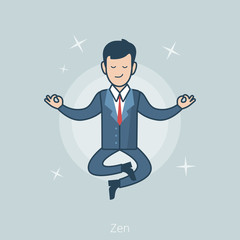 Linear Flat Business man levitate Zen pose vector illustration