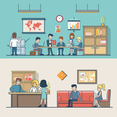 Linear Flat Business people work place clients reception vector