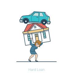 Linear Flat Woman carry house car vector illustration. Hard Loan