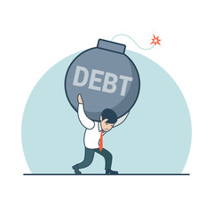 Linear Flat Business man carry bomb Debt vector illustration.