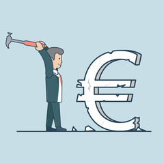 Linear Flat business man euro sign hummer vector exchange rate