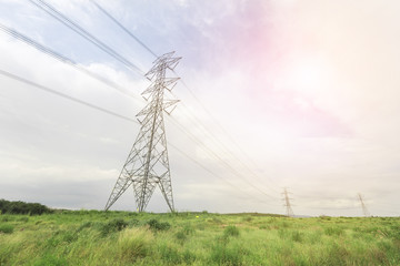 Electricity towers in  afternoon light bin landscape
