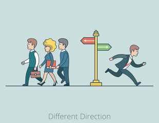 Linear Flat Business people Different Directions run fork vector