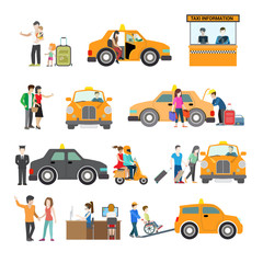 Flat Modern families catch cab service people Transport vector