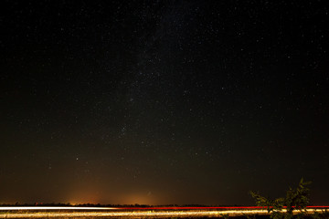The highway on a background of the starry sky.  View of the Milk
