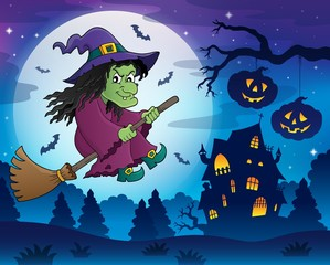 Witch on broom theme image 7