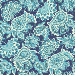 Paisley seamless pattern with flowers in indian style