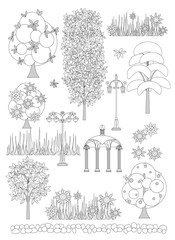 doodle of trees and garden design elements