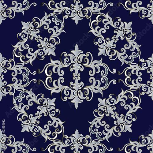 quotelegant baroque damask dark blue medieval floral vector