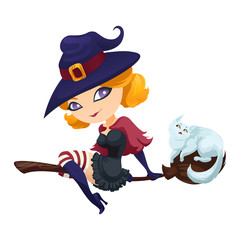Cute witch flying on a broom with a cat.