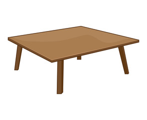 ooden table isolated illustration