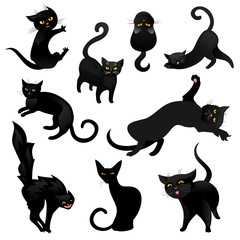 Set of black cats.