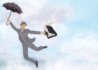Illustration of businessman flying in open air with umbrella in