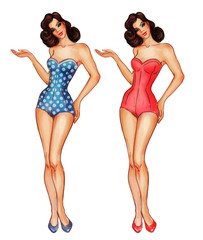 Pinup girl in swimsuit, illustration