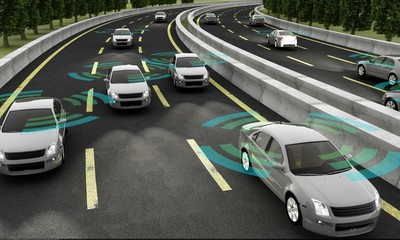 Autonomous cars on a road with visible connection Wall mural