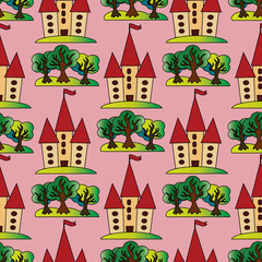 Light pink vector seamless pattern background wallpaper illustration with colorful fairytale castle and trees