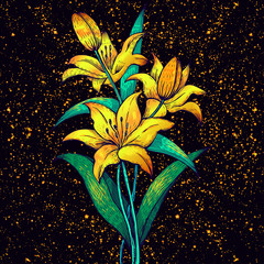 Golden lilies on a gold background