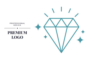 Modern linear diamond icon design. Vector sign template