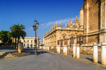 On the side of Cathedral and Giralda in Sevilla, Andalusia province, Spain.