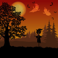 Holiday Halloween Landscape, Oak Tree in the Forest, Scarecrow Jack-o-Lantern, Sky with the Moon, Ghosts and Bats, Black Silhouettes. Element of this Image Furnished by NASA. Vector