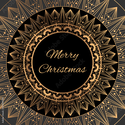 Merry Christmas Card Template Vector. Gold Black Decoration Frame  Background Design. Vintage Print For