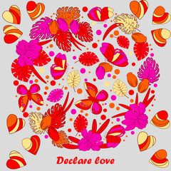 Valentine s day template greeting card. Flowers in heart shape. Heart made of flowers and central  copyspace for your text.. Doodle Heart. Valentines day card.