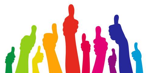 Set: Viele Hände mit Daumen hoch in Regenbogenfarben / Vektor-Illustration, freigestellt