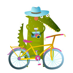 Traveling crocodile tourist with suitcase camera bicycle