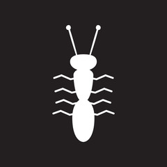 flat icon in black and white style ant insect