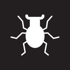 flat icon in black and white style beetle insect