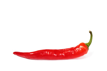 Wall Mural - red chili pepper pod isolated on white background.