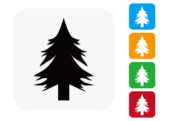 Pine Tree Icon Flat Graphic Design - Illustration