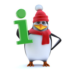 3d Winter penguin has information