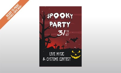 spooky party flyer poster halloween template vector