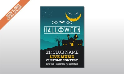 blue moon spooky flyer poster halloween party template vector