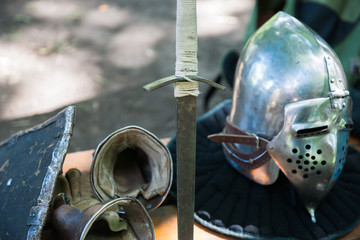 Details of the medieval knight equipment